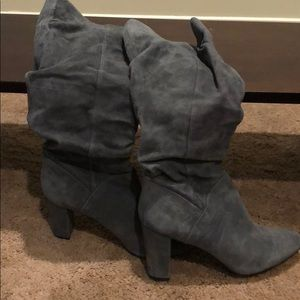 Grey faux leather boots